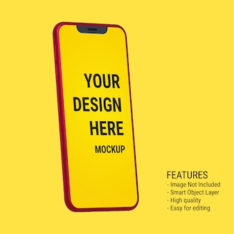 Mockup smartphone rosso