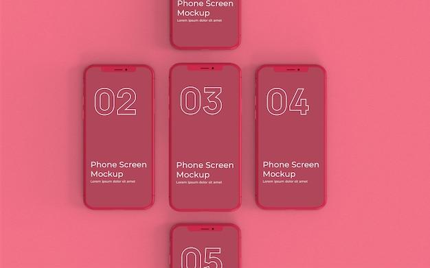 Vista superiore del modello rosso degli smartphone