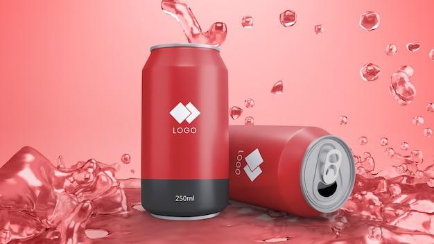 La soda rossa può mockup con succo di fondo