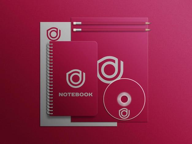 Mockup premium piccolo set di cartoleria rossa
