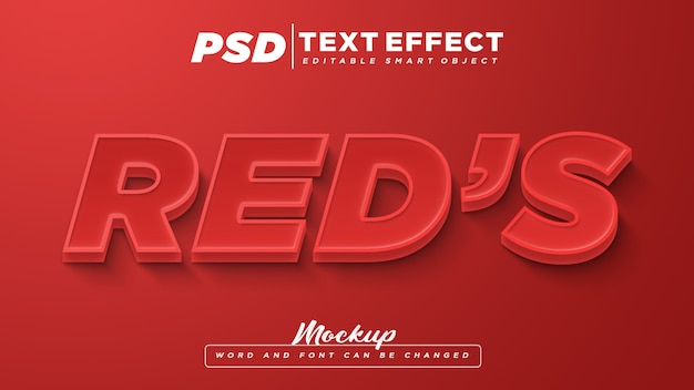 Mockup di testo modificabile con effetto testo rosso