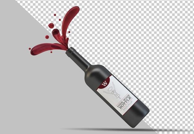 Mockup di bottiglia di vino rosso con gocce galleggianti isolate