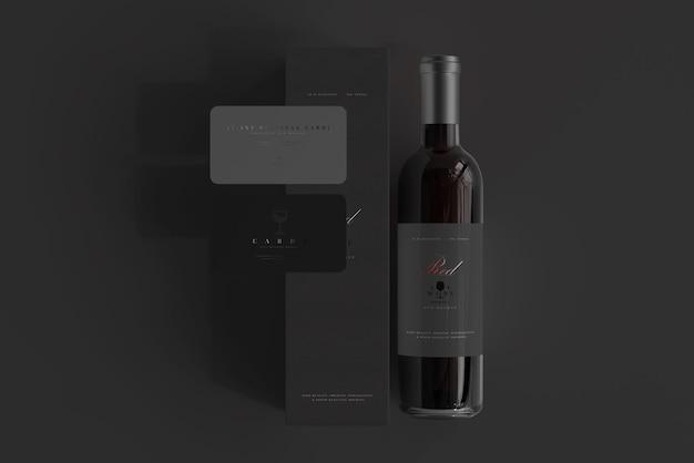 Bottiglia di vino rosso con scatola e biglietti da visita mockup
