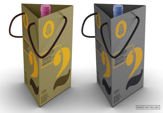 Bottiglia di vino rosso con scatola mockup Psd Premium
