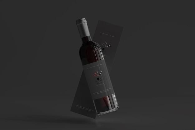 Bottiglia di vino rosso con scatola mockup