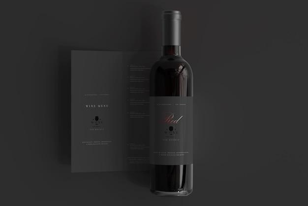 Bottiglia di vino rosso con menu mockup