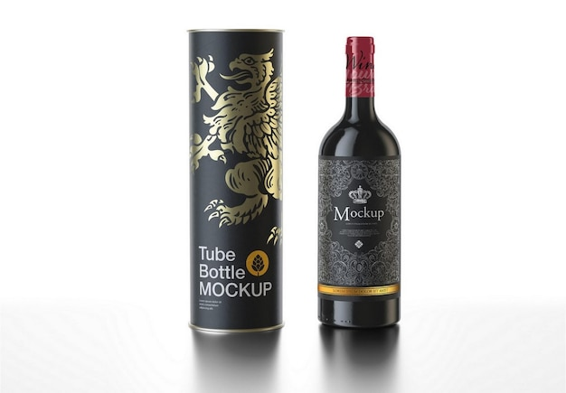 Bottiglia di vino rosso con mockup di tubo di carta