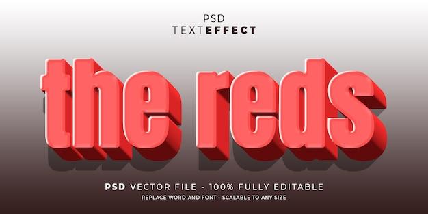 Il modello modificabile di reds in stile testo ed effetto carattere pronto per l'uso