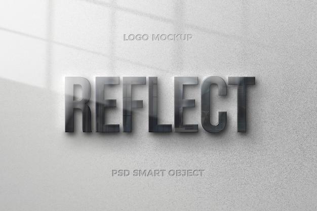 Effetto di stile del testo di riflessione con design del modello di testo