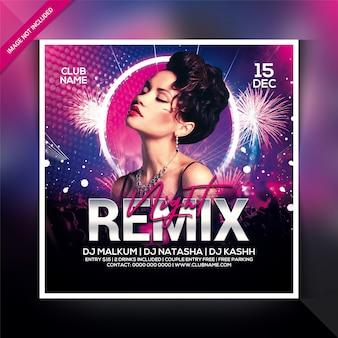 Modello di volantino festa notte remix