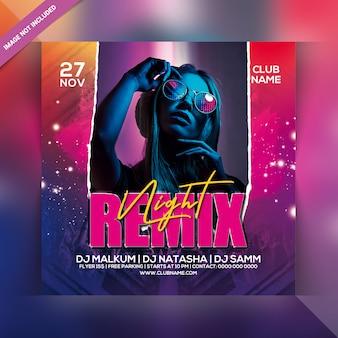 Volantino per festa notturna remix