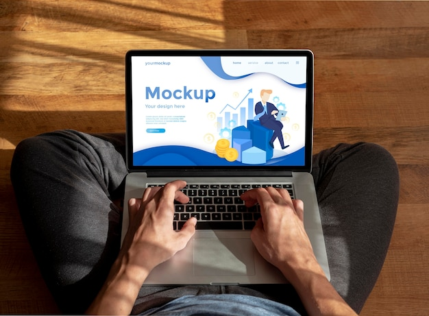 Lavoro remoto su mock-up di laptop