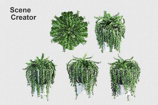 Rendering di sfondo trasparente 3d di vista frontale isometrica del vaso di metallo della pianta isolata premium 3d