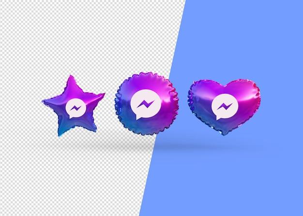 Rendere i palloncini dell'icona di messenger isolati