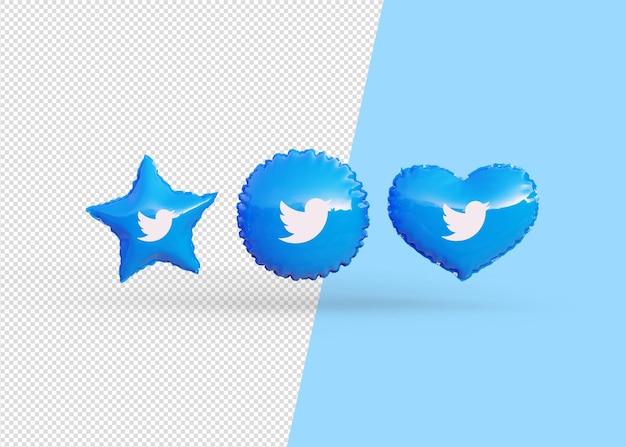 Rendi isolati i palloncini dell'icona di twitter