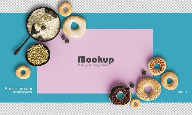 Rendering che mostra una composizione equilibrata di mockup di cibi e dolci