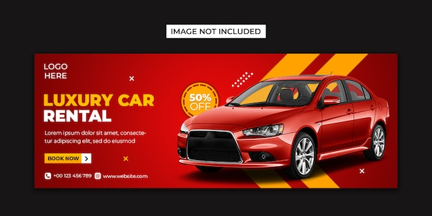 Social media per auto a noleggio e modello di post di copertina di facebook