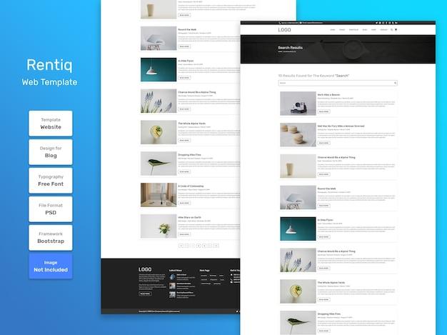 Modello web della pagina di ricerca del blog rentiq
