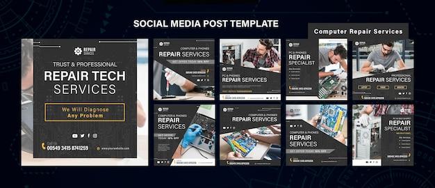 Modello di post sui social media di servizi di riparazione