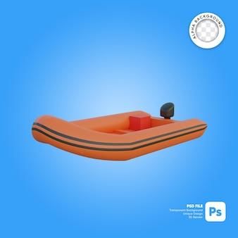Oggetto 3d dall'aspetto frontale della barca di salvataggio