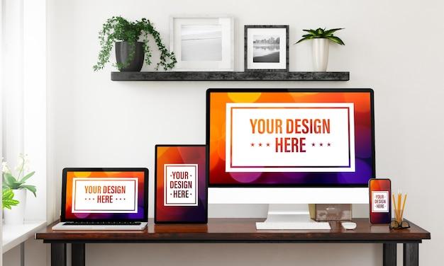 Dispositivi reattivi su un desktop mock up