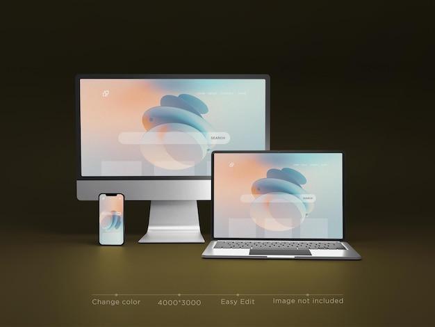Rendering 3d di mockup del sito web di dispositivi reattivi