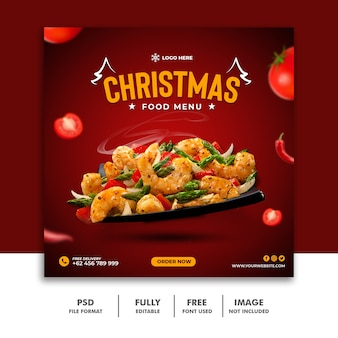 Ristorante chritsmas social media post template