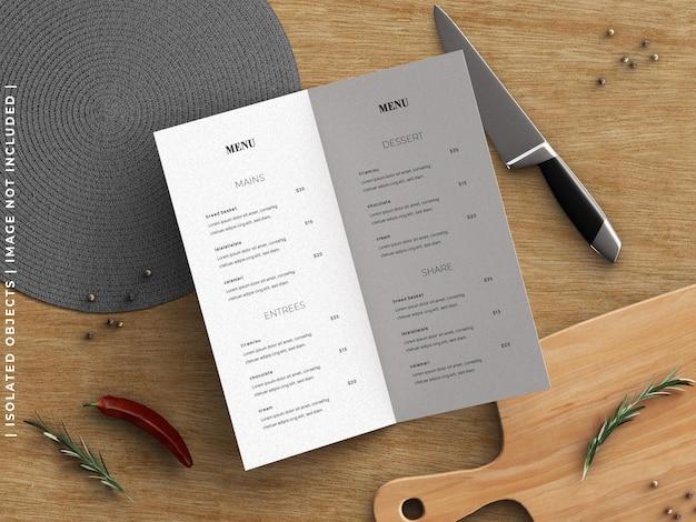 Ristorante che cucina il modello del menu dell'alimento e il creatore di scena con la disposizione piana degli utensili da cucina isolata