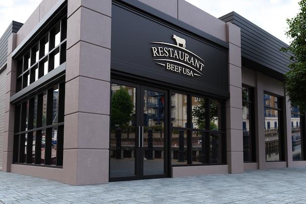 Mockup del logo della facciata del ristorante