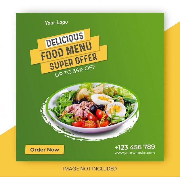 Modello di progettazione banner ristorante cibo