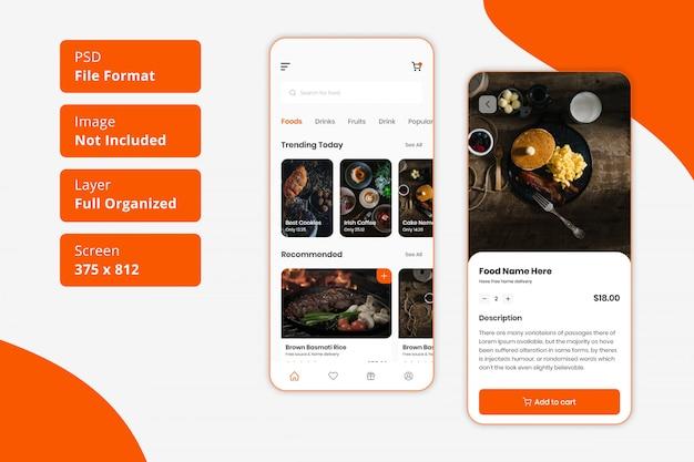 Consegna del cibo al ristorante e interfaccia utente dell'app mobile per l'ordine di cibo
