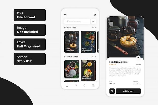 Ui app mobile di consegna cibo ristorante