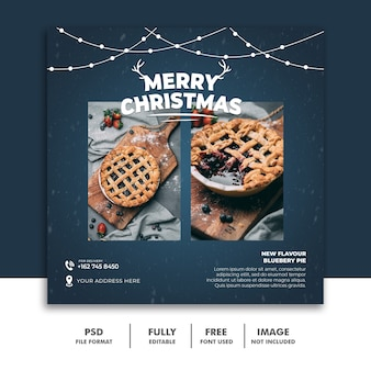 Restaurant food menu christamas social media post template