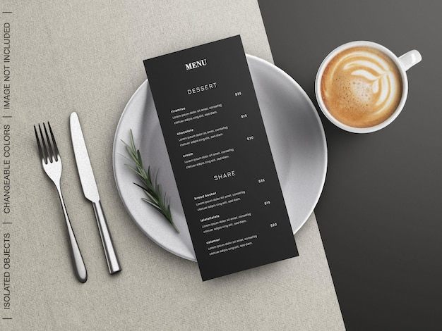 Mockup di concetto di menu cibo ristorante con stoviglie e tazza di caffè piatto isolato