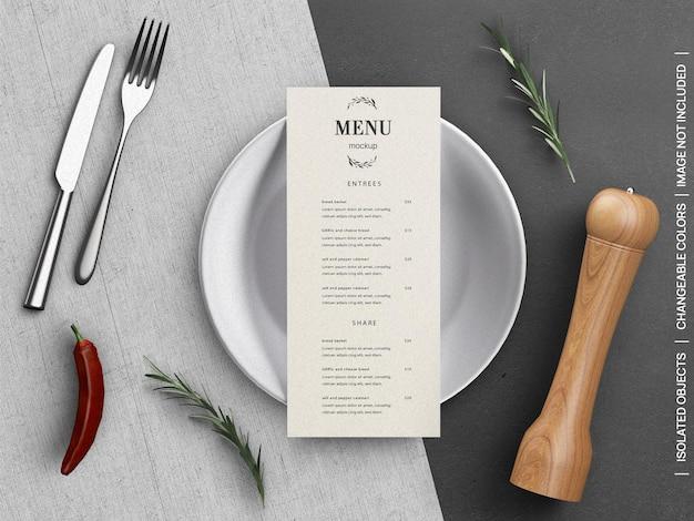 Mockup di concetto di carta volantino menu cibo ristorante con stoviglie