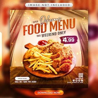 Volantino del menu del cibo del ristorante o modello di banner per social media
