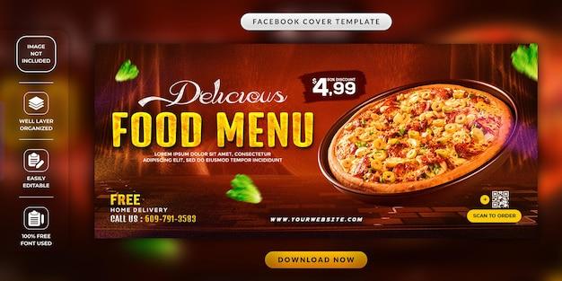 Modello di copertina per i social media del menu del cibo del ristorante
