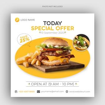 Modello di post sui social media del menu del ristorante o del cibo