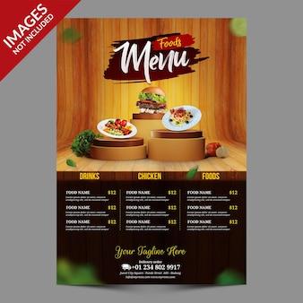 Menu di cibo del ristorante con modello di sfondo in legno
