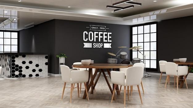Mockup del logo del ristorante nella sala ristorante minimalista in legno