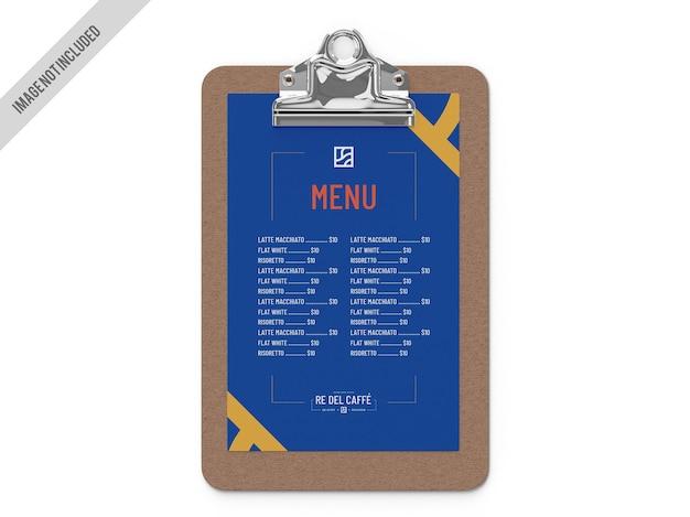 Mockup di clip del menu del ristorante