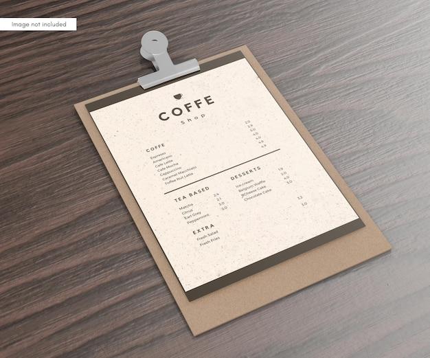 Mockup del menu del ristorante