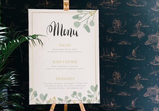 Mockup di menu del ristorante di oggi