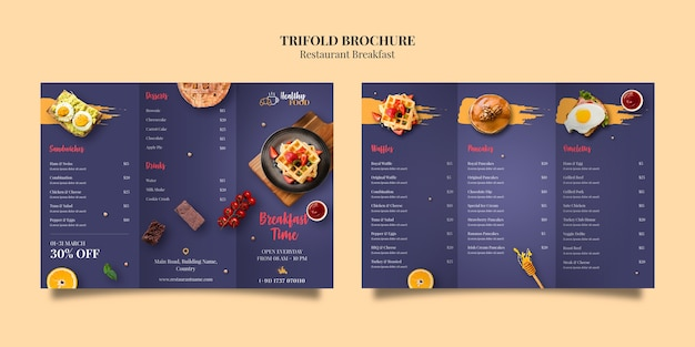 Modello di brochure a tre ante ristorante Psd Premium