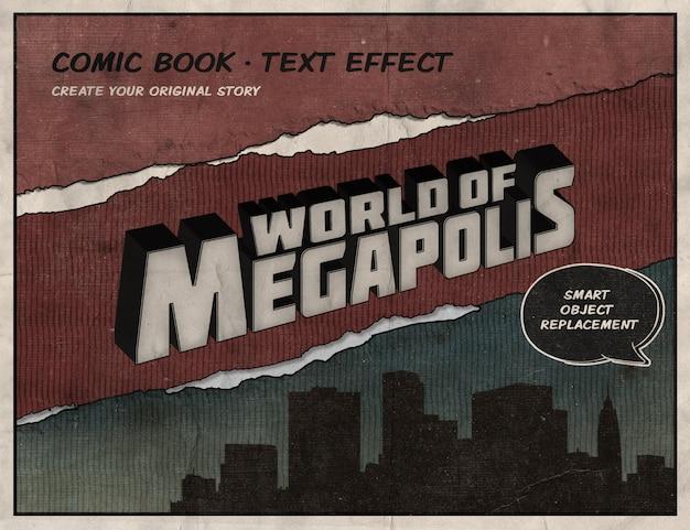 Effetto di testo del libro di fumetti retrò
