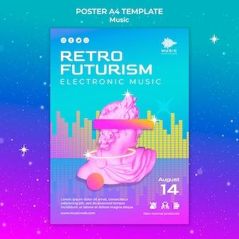 Modello di poster verticale futuristico retrò per festival di musica