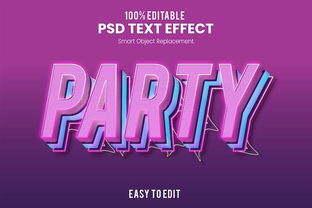 Modello di effetto testo 3d partito retrò