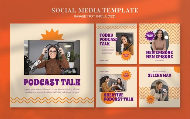 Banner di social media retrò podcast e modello di post di instagram
