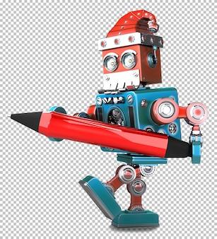 Retro robot babbo natale che tiene una penna rossa. isolato su bianco