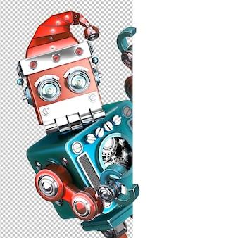 Retrò babbo natale robot che guarda da dietro il tabellone bianco